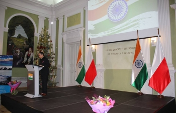 On the occasion of the 70th Republic Day of India, Ambassador hosted the National Day reception at the Central Agricultural Library in Warsaw on 25th January 2019. Deputy Foreign Minister of Poland, Maciej Lang, was the Chief Guest. The function was attended by members of the Polish Parliament, Diplomatic Corps, senior Government officials, members of the Association of Poles in India and members of the Indian community, among others.