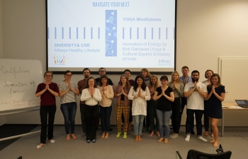 YOGA IS HEALTHY FOR CORPORATES - In the run-up to International Day of Yoga (IDY) 2019, Embassys Yoga teacher Ms. Kirti Gahlawat conducted yoga and Mindfulness workshop for office stress management at Infosys, Lodz on 28th May 2019 31st May 2019
