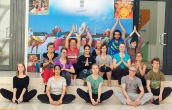 Polish students engaging in Yoga with Embassys Yoga teacher Kirti Gahlawat 25 April 2019