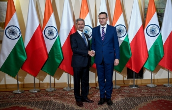 Minister of External Affairs Dr. S. Jaishankar paid an official visit to Poland from August 28 to 29, 2019 and called on Prime Minister Mateusz Morawiecki amp Deputy Prime Minister Prof. Piotr Glinski and held official talks with Foreign Minister Prof. Jacek Czaputowicz. Minister of External Affairs Dr. S. Jaishankar also laid a wreath at the Tomb of the Unknown Soldier.