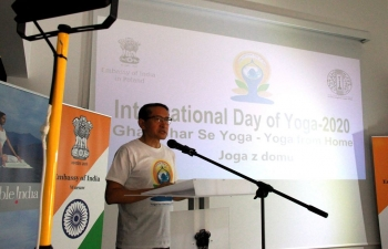 International Day of Yoga was celebrated in the Embassy of India Warsaw premises. The programme was live streamed on Facebook page and YouTube channel of the Mission. During the event Prizes were also given to the winners of Yoga Quiz and Yoga Posture contest conducted by the Embassy.